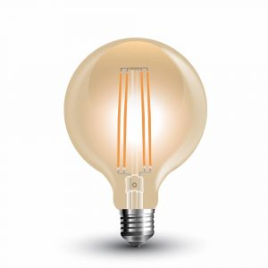 LED Bulb 7W Long Filament G-95 Amber Cover 2200K (warm white)