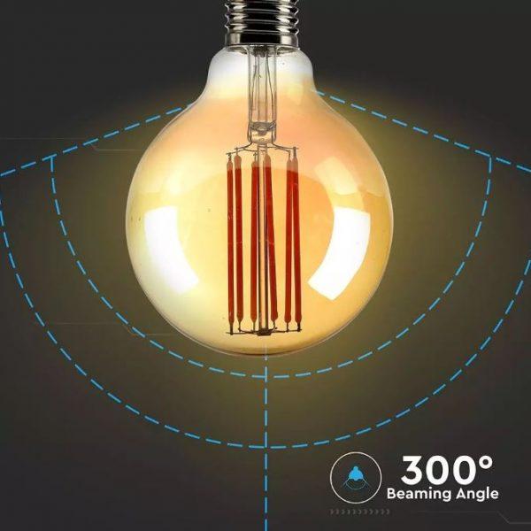7W G95 LED Bulb Long Filament Amber Cover 2200K (warm white)