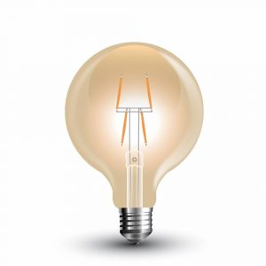 LED Bulb 4W 8 Filament-G80 Amber Cover 2200K (warm white)