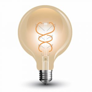 LED Bulb 5W Curve Filament-G125 Amber Cover 2200K (warm white)