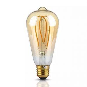 5W LED Bulb ST64 Long Filament Amber Cover 2200K (warm white)