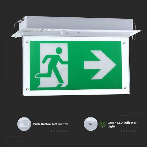 LED SAMSUNG Recessed Fixed Emergency LED Exit Light 6000k IP20