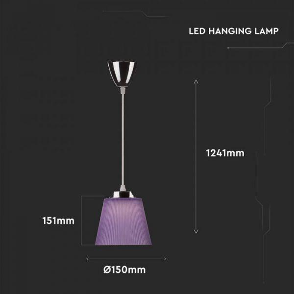 7W Pendant Light 4000K Chrome Body   Purple Shade