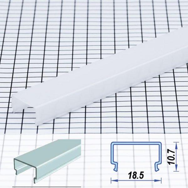 Square Surface Poly-carbon LED Profile Opal 18.5*10.7 mm (metre)