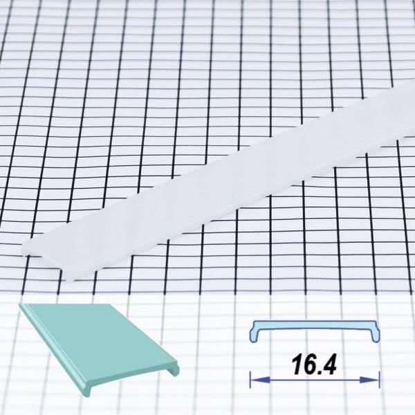 Square Flat Poly-carbon LED Profile Opal 17.7 mm (metre)