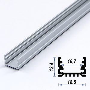 Surface Aluminium LED Profile Mat Anodize 18.5*13.4 mm (metre)