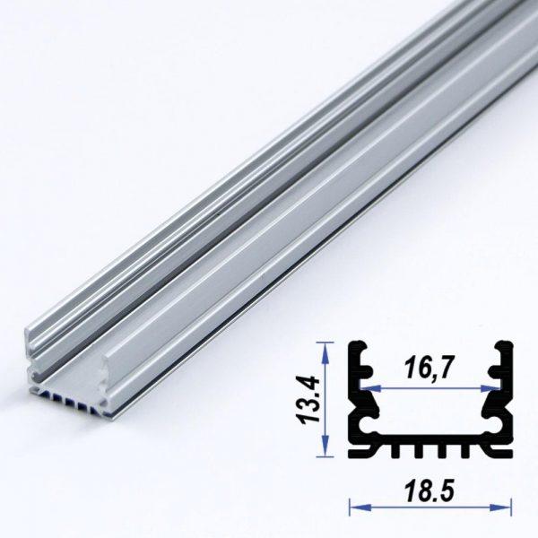 Surface Aluminium LED Profile 18.5 x 13.4 mm (metre)