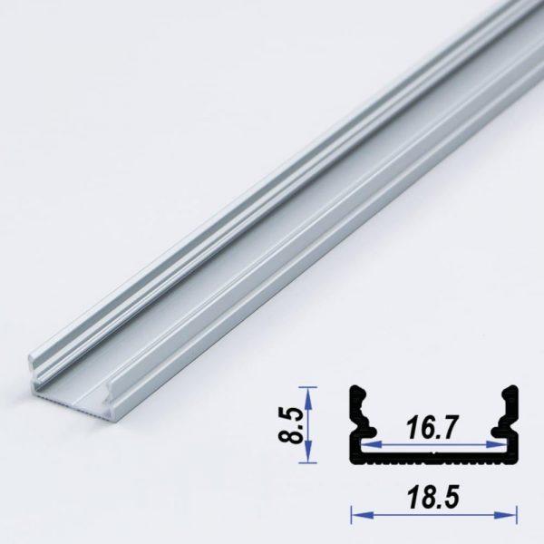Surface Aluminium LED Profile Mat Anodized 18.5*8.5 mm (metre)