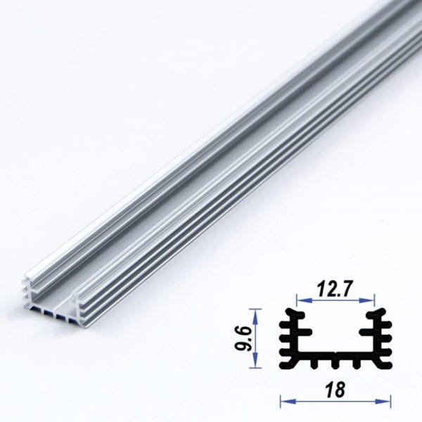Surface Aluminium LED Profile Mat Anodized 18*9.6 mm (metre)