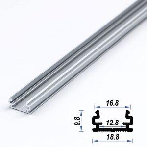 Surface Aluminium LED Profile Mat Anodized 18.8*9.8 mm (metre)