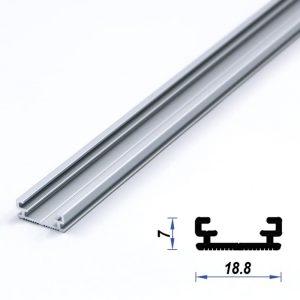 Surface Aluminium LED Profile slim Mat Anodized 18.8*7 mm (metre)
