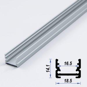 Surface Aluminium LED Profile Mat Anodized 18.5*14.1mm (metre)