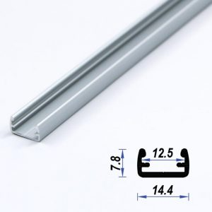Surface Aluminium LED Profile Mat Anodized 14.4*7.8 mm (metre)