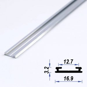 Surface Aluminium LED Profile Super Slim Mat Anodized 16.9*3.2 mm (metre)