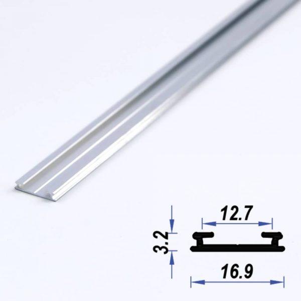 Surface Aluminium LED Profile Super Slim Mat Anodized 16.9*3.2 mm (metre)