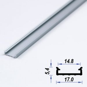 Surface Aluminium LED Profile Slim Mat Anodized 17*5.4 mm (metre)