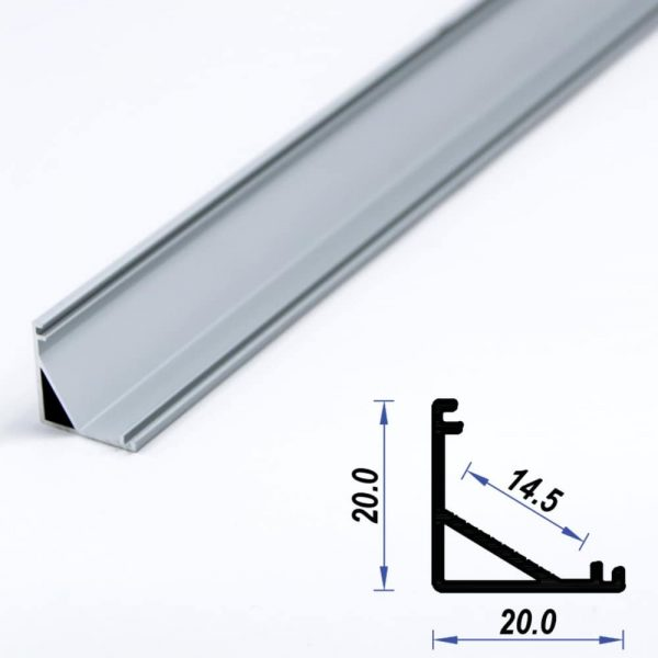 Corner Aluminium LED Profile Mat Anodized 20*20 mm (metre)