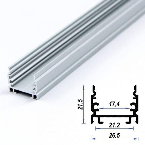 Surface Aluminium LED Profile Mat Anodized 26.5*21.5 mm (metre)