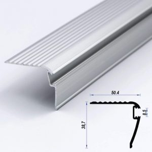 Stairs Aluminium Led Profile Mat Anodized 50.4*38.7 mm 8.5mm Diffuser (metre)