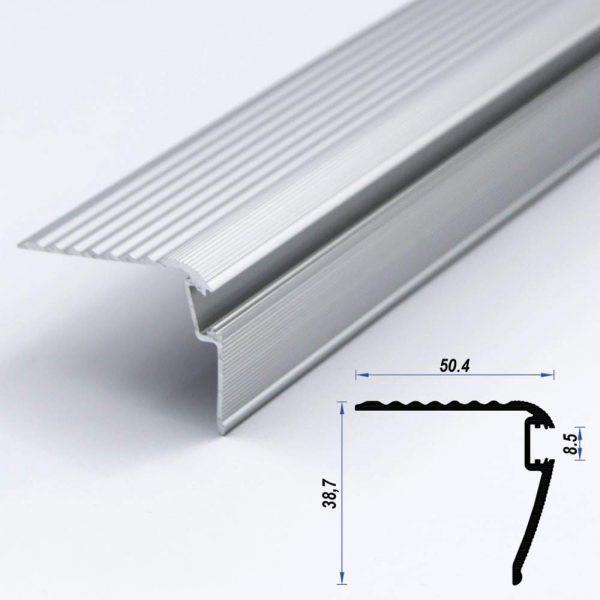 Stairs Aluminium Led Profile 50.4 x 38.7 mm 8.5mm Diffuser (metre)