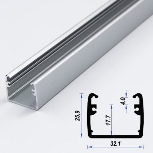 Surface Aluminium LED Profile Mat Anodized 32.1*25.9 mm (metre)