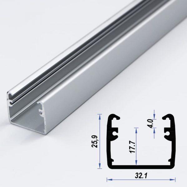 Surface Aluminium LED Profile 32.1 x 25.9 mm (metre)