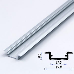 Recessed Aluminium LED Profile Mat Anodized 29.8*8 mm (metre)