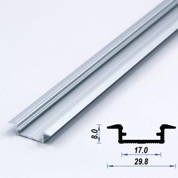 Recessed Aluminium LED Profile Mat Anodized 29.8*8 mm (metre)