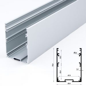 Aluminum LED Profile 55 x 75 mm Anodized