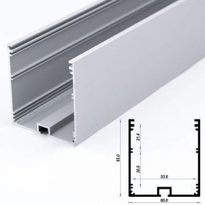 Surface Aluminium LED Profile Mat Anodized 60*60 mm (metre)