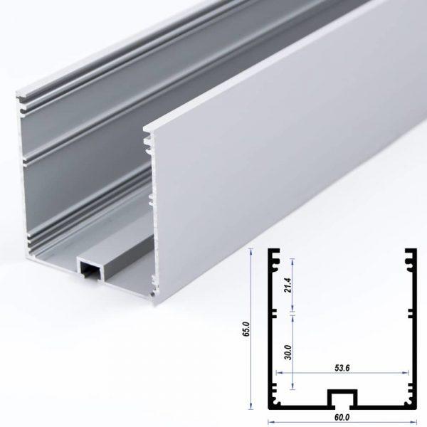 Surface Aluminium Profile Mat Anodize 60*60mm (metre)