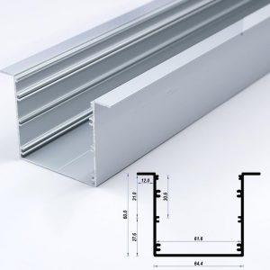 Recessed Aluminium Profile Mat Anodize 64.4*60mm 12mm flange (metre)