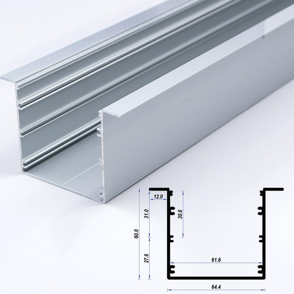Recessed Aluminium Profile 64.4 x 60mm 12mm flange (metre)