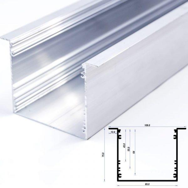 Recessed Aluminium Profile Mat Anodize 85*75mm 12mm flange (metre)