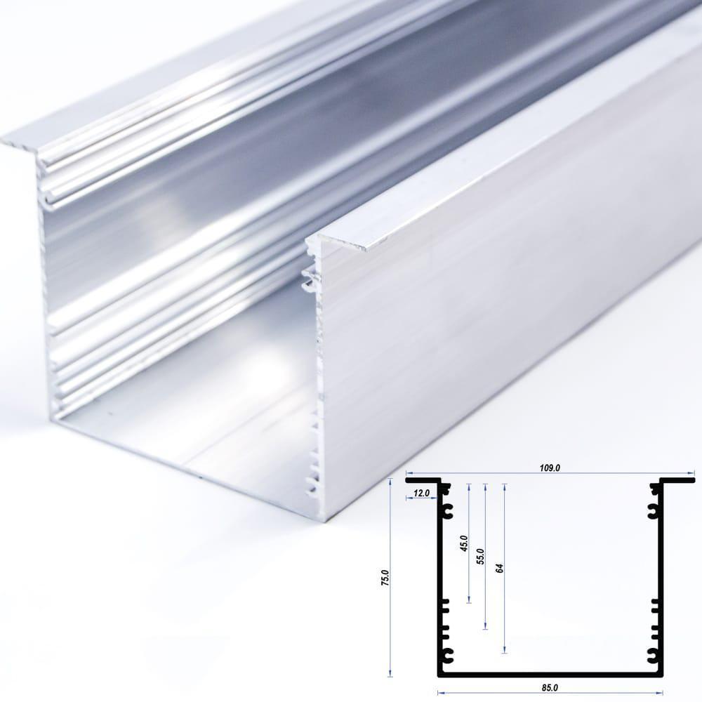Recessed Aluminium Profile 85 x 75mm 12mm flange (metre)