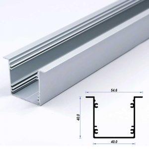 Recessed Aluminium Profile Mat Anodize 40*40mm 7.5mm flange (metre)