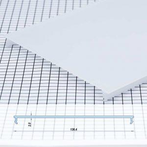 Polycarbon Profile White Opal Flat 136.4mm (metre)