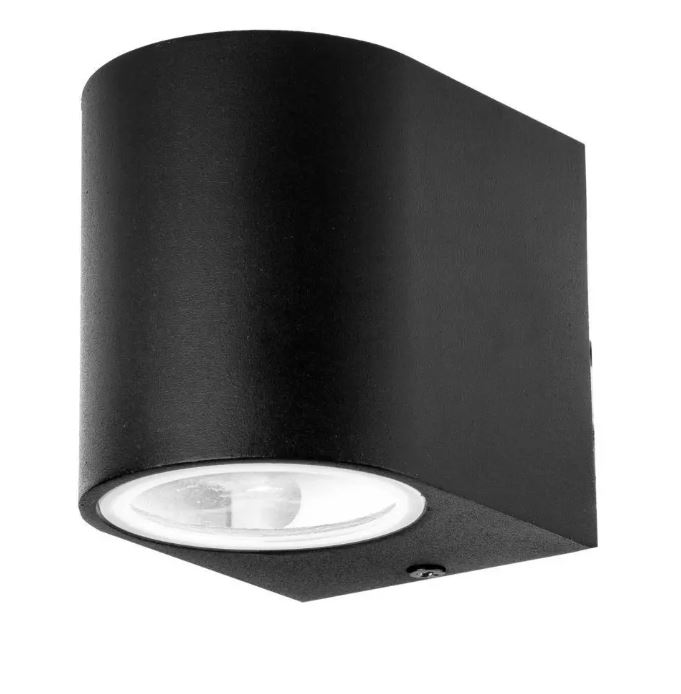 Wall Sleek Wall Fitting Aluminium Round Black 1Way IP44