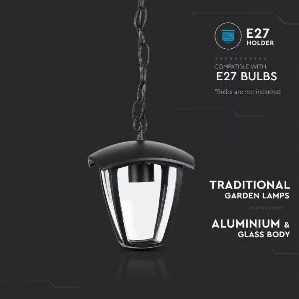 Ceiling Garden Lamp IP44 Black