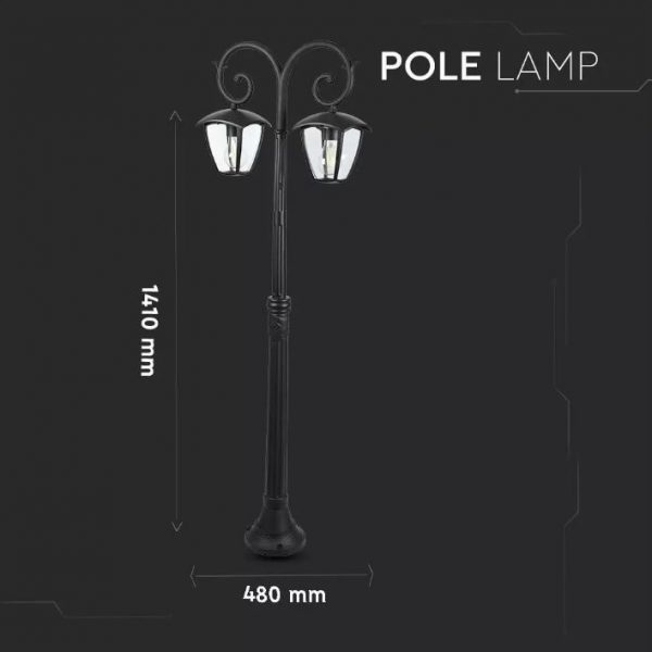 Pole Lamp 2XE27 1410mm IP44 Black