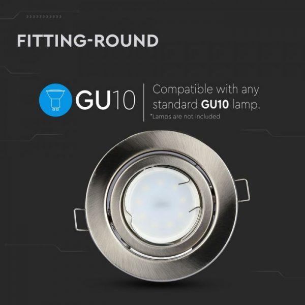 GU10 Housing Round Movable Satin Nickel Recessed