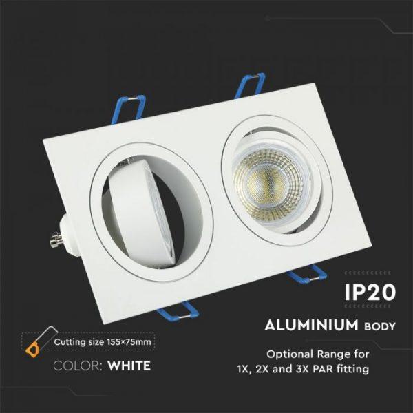 2*GU10 Fitting Round/ Square Shape, White/Aluminium Body Colour