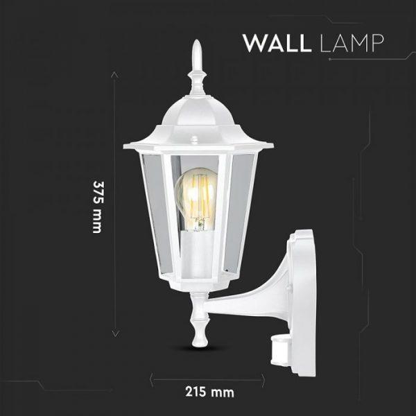 Wall Lamp With Sensor E27 Matt White