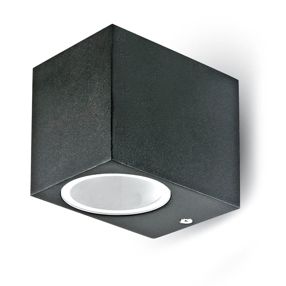 Wall Sleek Wall Fitting Aluminium Square Black 1Way IP44