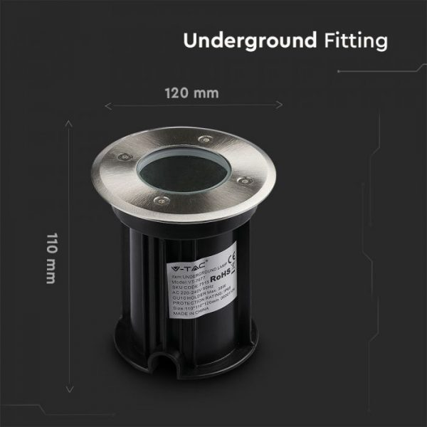 Under Ground Fitting Steel Body GU10 Black Round IP65