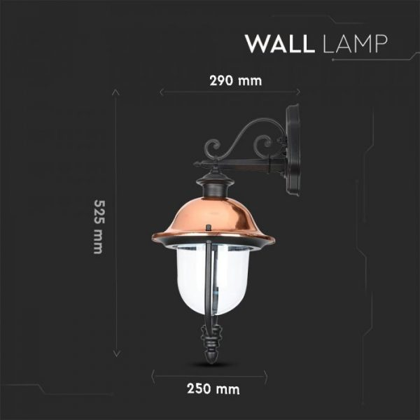 Wall Lamp E27 With Clear Glass Cover Down Lighting