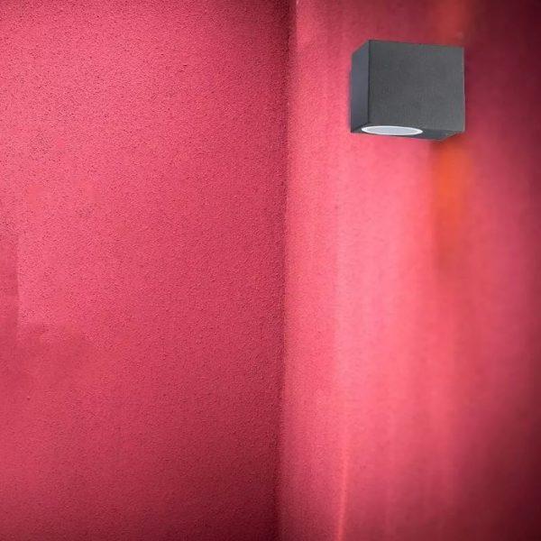 Wall Sleek Wall Fitting Aluminium Square Black 1Way IP44