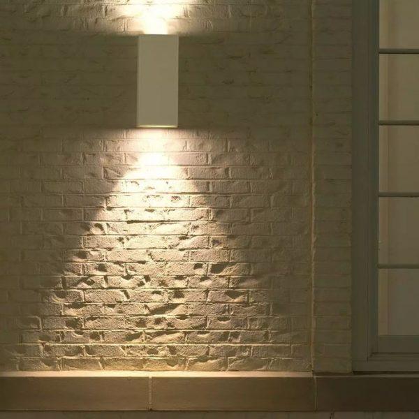 Wall Sleek Wall Fitting  Square White Body  2Way IP44
