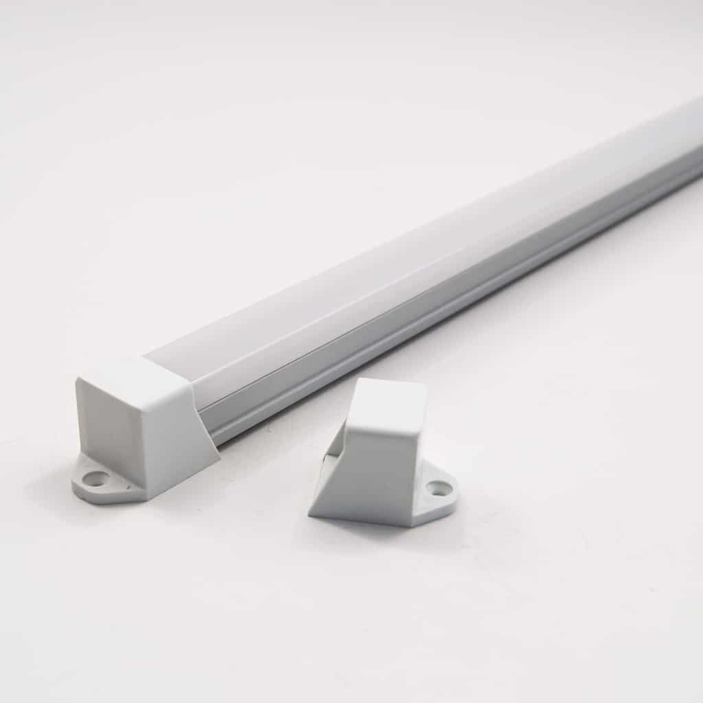 Aluminium Profile Kit with end cap 18mm Wide and square diffuser (1metre)