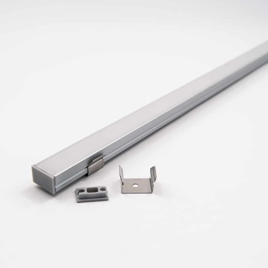 Aluminium Profile Kit with end cap and metal clips 18mm Wide and diffuser (1metre)